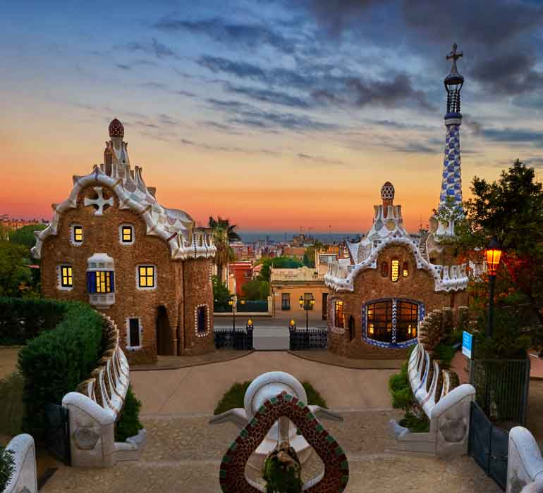 View from Park Guell in Barcelona during sunset